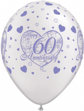 Happy 60th Anniversary Hearts Pearl White Balloons